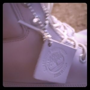All white Timberlands